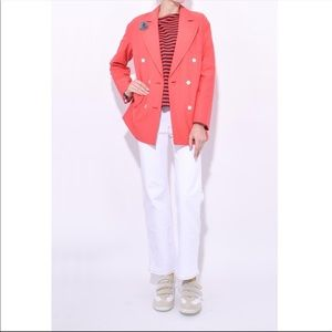 ALEX MILL Double Breasted Oxford Blazer RED CORAL